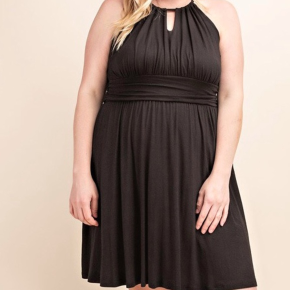 Plus Size Black Halter Dress Boutique